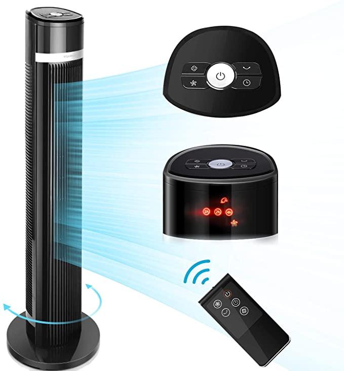 Aigostar 33QNS– Ventilador de Torre Digital, mando a distancia, pantalla LED, 3 Velocidades, 3 Modos, Temporizador programable 7 horas, oscilante silencioso, 103 cm, Color Negro